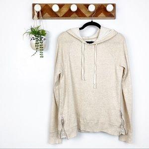 Aerie | Cream Lace Zip Sides Long Sleeve Hoodie